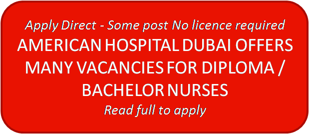 enursed com: AMERICAN HOSPITAL DUBAI MANY VACANCIES FOR DIPLOMA OR