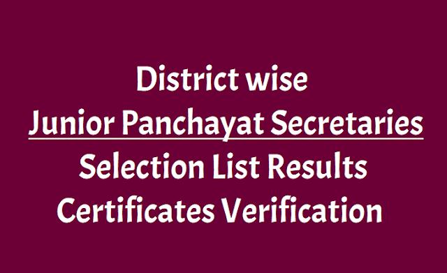 Junior Panchayat Secretaries Selection list Results