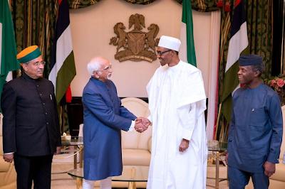 Buhari receives Indian Vice President, Mohammad Hamid Ansari in Abuja