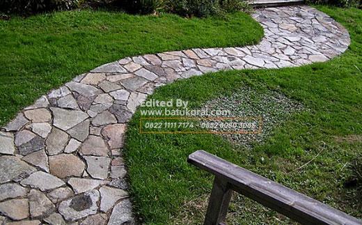 batu alam templek acak untuk lantai taman