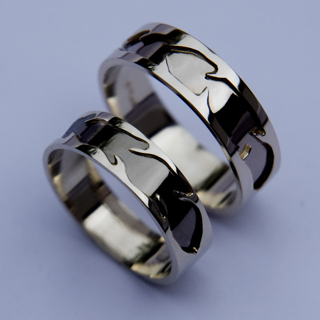 Izhinamowin  Native American wedding rings of sterling silver