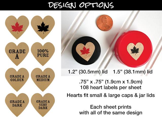 Kraft Heart Maple Syrup Color Grade Labels