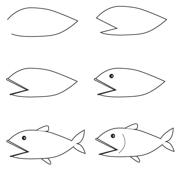 كيفية رسم سمكة للاطفال