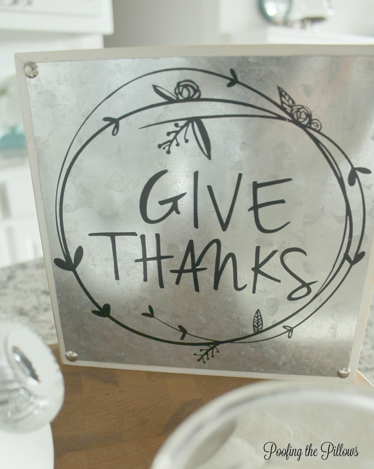 Give Thanks is the message shared on this kitchen vignette. Part of Ten on the 10th.