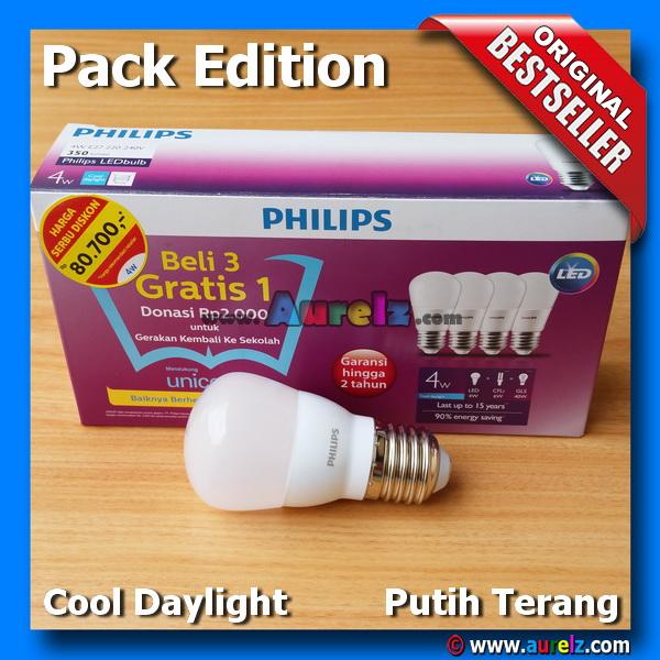 lampu led philips 4 watt cool daylight / putih terang beli 3 gratis 1 edisi unicef pack edition