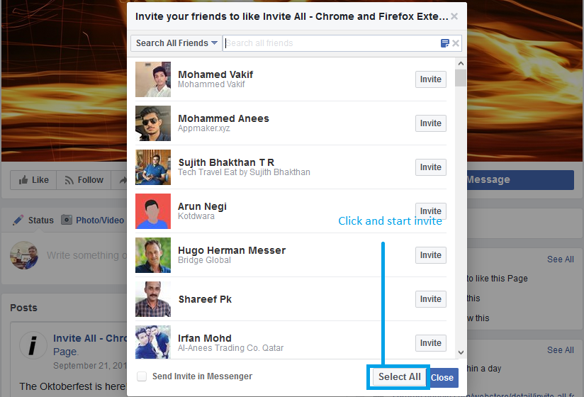 How to Invite All Friends on Facebook Page in One Click HowiIn