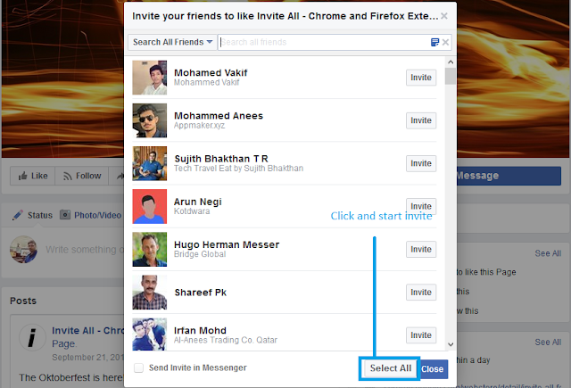 facebook invite all firefox