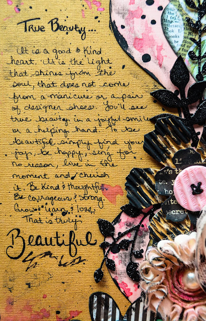 Beauty mixed media scrapbooking page layout with heat embossed chipboard, washi tape, polka dots, die cuts, in contemporary grunge style