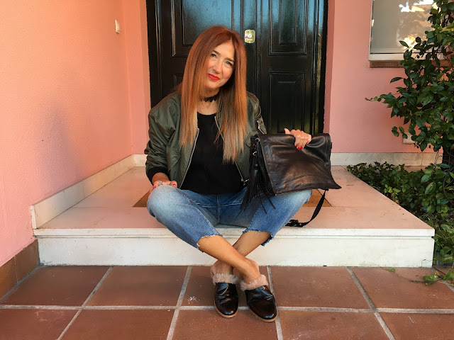 Babuchas pelo, Jeans, denim, aw16, streetstyle, look of the day, Carmen Hummer, Fashion blogger, estilista, personal shopper