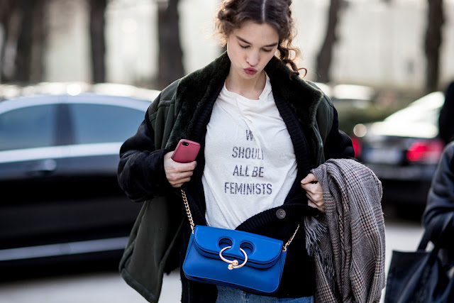 Models Wear Dior's Feminist T-Shirt on the Streets at Couture Fashion Week