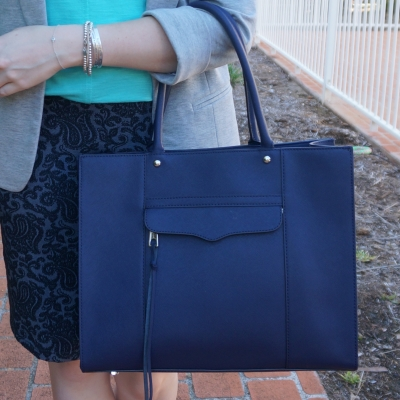 jacquard pencil skirt, Rebecca Minkoff medium MAB tote in moon navy | awayfromtheblue