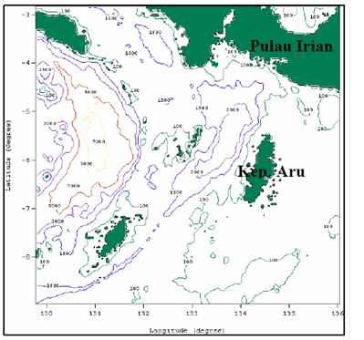 peta batimetri (kedalaman) Laut Banda