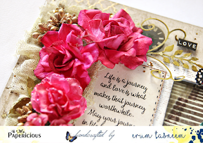 The three main roses are handmade, gorgeous paper by Papericious.