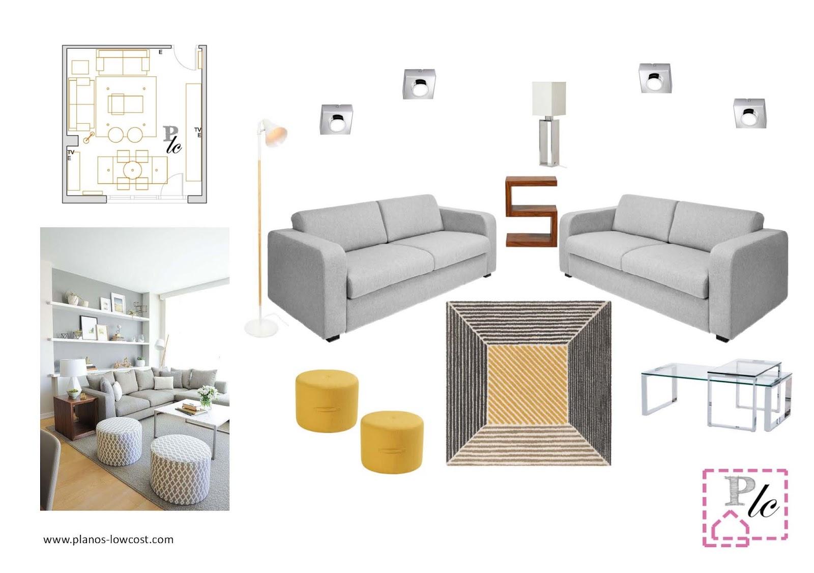 planos low cost: Interiorismo para el salón-comedor de Inma.
