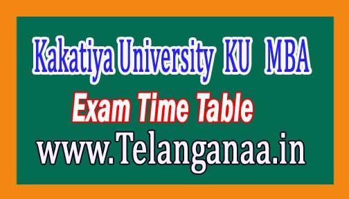 Kakatiya University (KU)MBA 3rd Semester Time Table 2016 Download