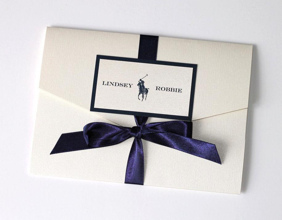 Custom Polo Inspired Wedding Invitation Set Embellished