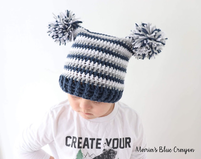 Double Pom Pom Hat for Baby, Kids and Adults - Free Crochet Pattern - Maria's Blue Crayon