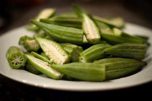 Fresh picked okra