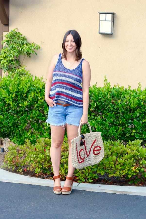 7c5d2e1d74b52 LunaVida  Fourth of July Fashion  Knit Tank + Cutoff Shorts + Wedges