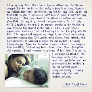 Rani Mukerji Chopra writes a heartfelt note to her daughter Adira on the eve of her first birthday.