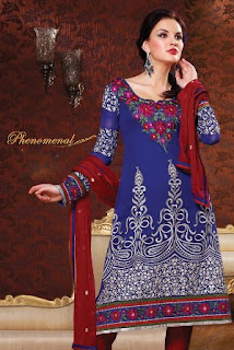 latest awesome designer anarkali churidar suit in blue