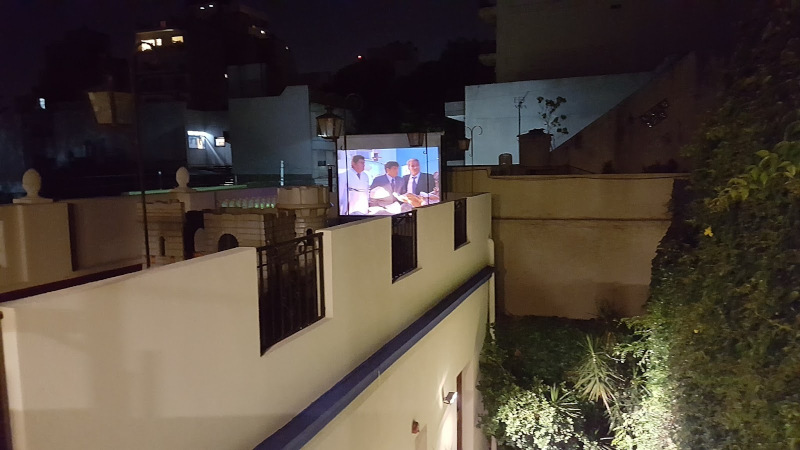 Open air cinema on terrace
