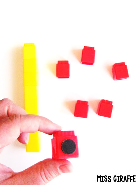 Great tips for how to make any math manipulative into a magnet to use on the whiteboard!