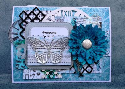Календарь, calendar, hand-made flowers