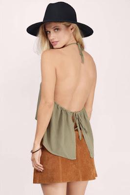 Backless Halter Top cara menghitamkan kulit untuk cewek dengan pakai Tank top
