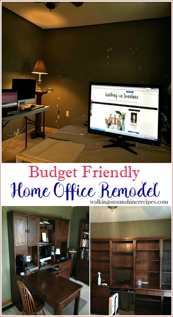 Before plans and photos of our budget friendly home office remodel project from Walking on Sunshine Recipes.