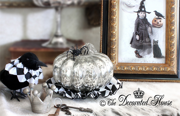 The Decorated House ~ Halloween Decor with Mercury Glass, Ravens and Little Vintage Witch