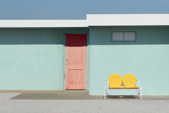 motel in palm spring, pastel colors