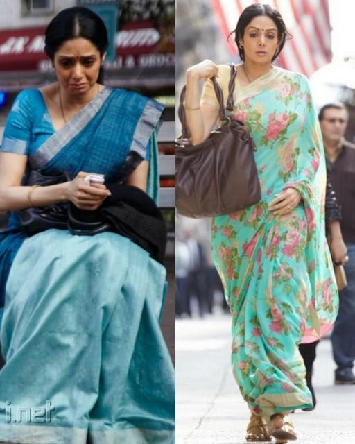 e8fe6b925a Bollywood actress Sridevi chiffon Sarees at English Vingilish Movie. 1.  Left: Light blue and magenta blue combination cotton mixed silk thread work  saree ...
