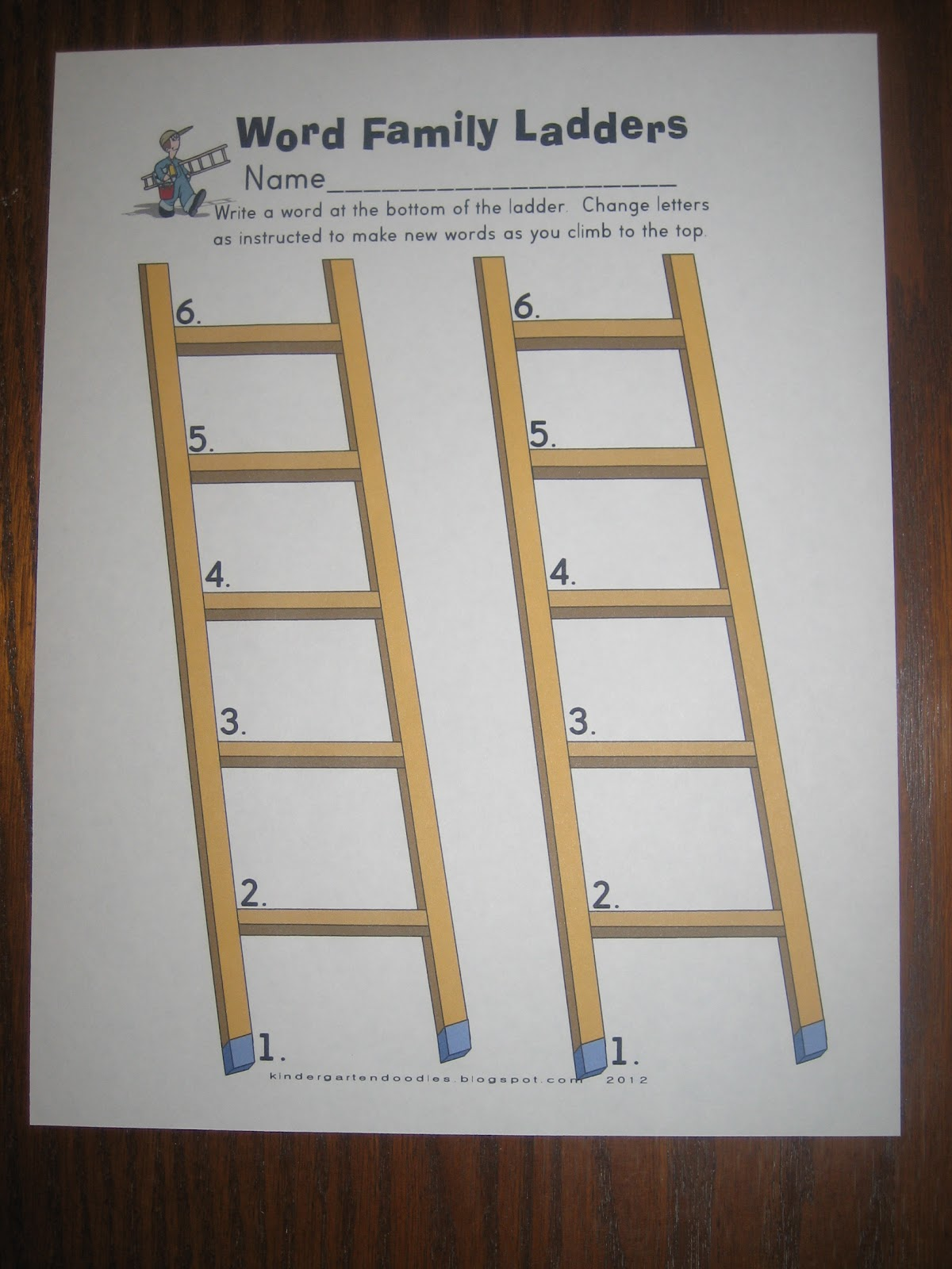Kinder Doodles Word Family Ladders