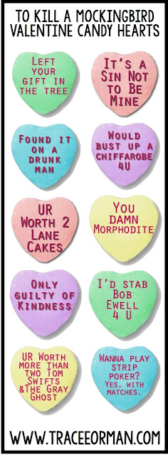 Valentine's Day To Kill a Mockingbird Candy Hearts www.traceeorman.com