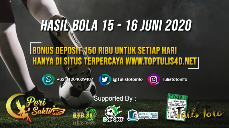 HASIL BOLA TANGGAL 15 – 16 JUNI 2020