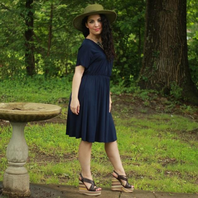 Navy Blue Wrap Bust Dress