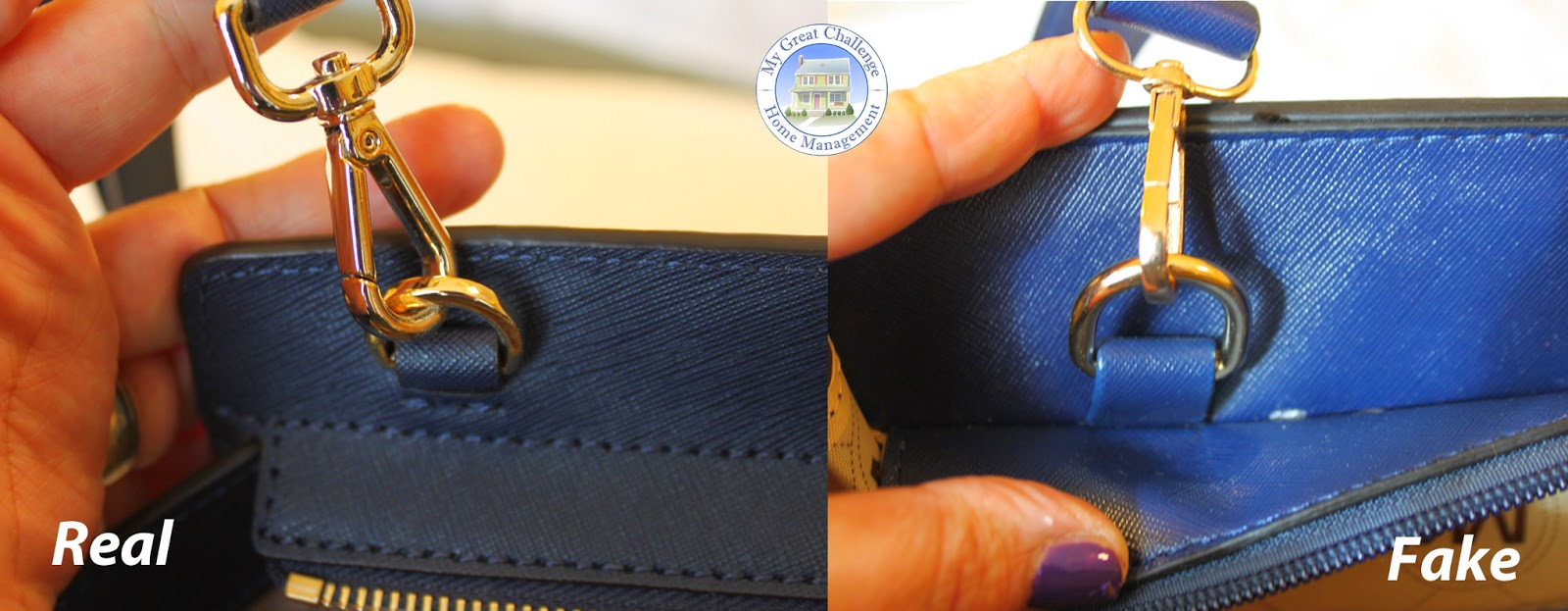 The real bag on the right has a solid clasp with a holding band that is  stitched into the side while the fake version has a band stitched into the  seam and ... 7c3e69b5af394