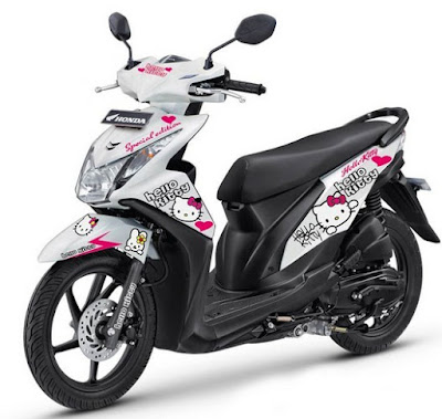 Modif Honda Beat FI Standart Putih Scotlet Hello Kitty