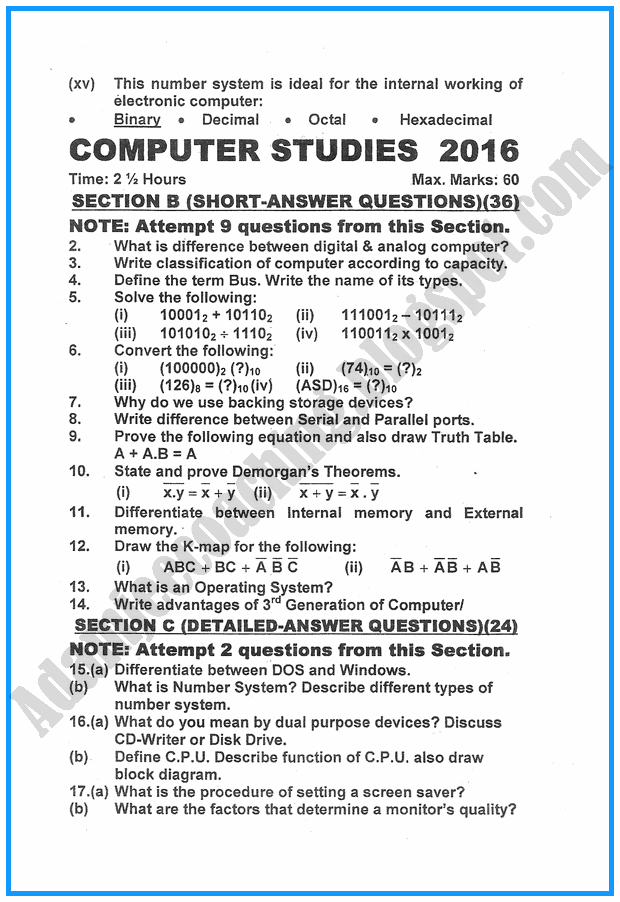 ix-computer-studies-past-year-paper-2016