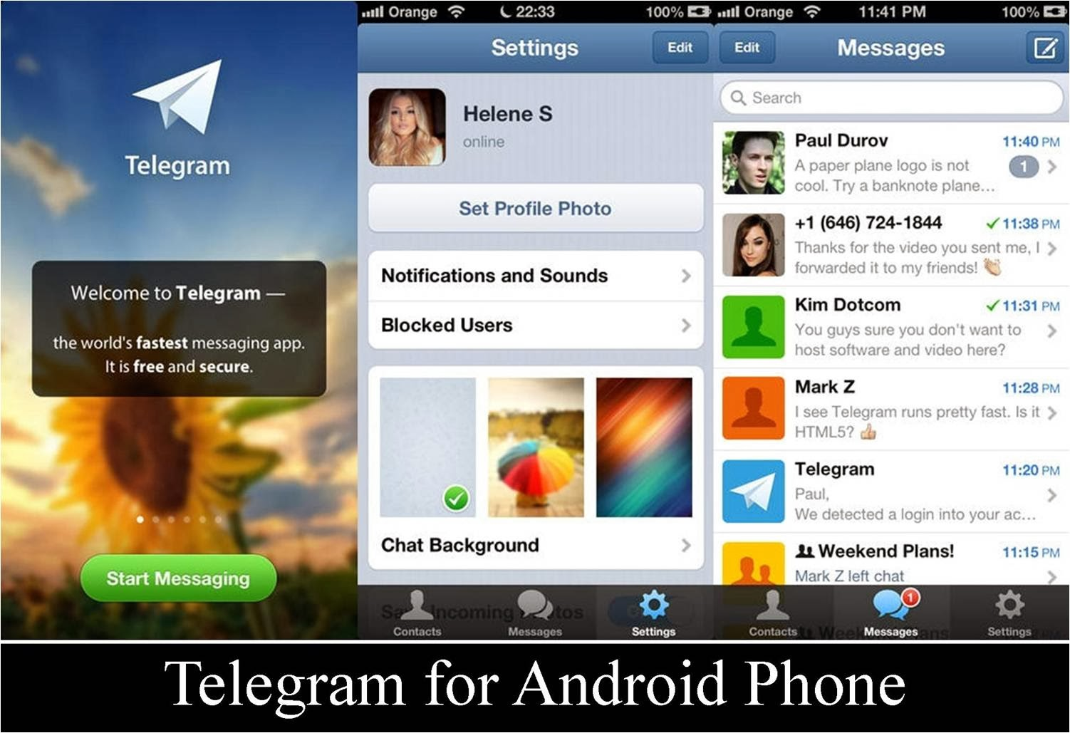 Telegram app running on an Android phone