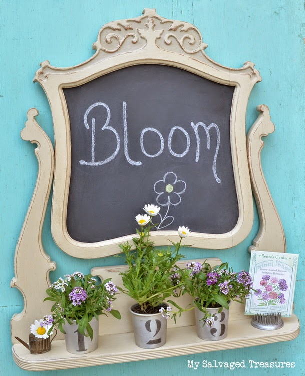 #BestofDIY repurposed dresser mirror frame with shelf and chalkboard
