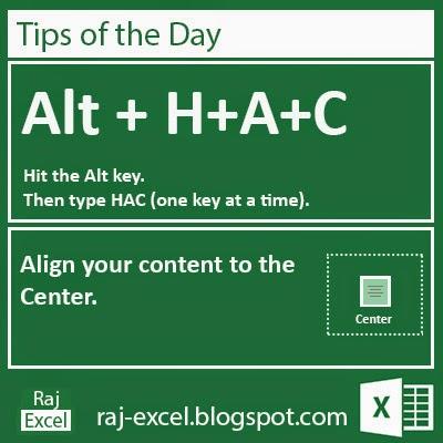 Excel Short Cut Keys: Alt + HAC