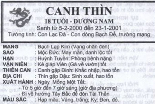 TỬ VI TUỔI CANH THÌN 2000 NĂM 2017