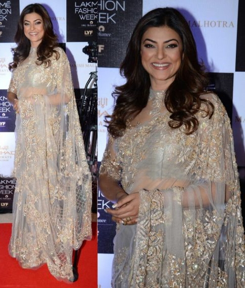 Sushmita Sen in Sheer Shimmer Saree at Lakme Fashion Week