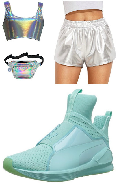 what to wear to a rave edm outfits rave outfits holographic outfit puma cross trainers summer outfits tumblr outfits fanny pack outfit