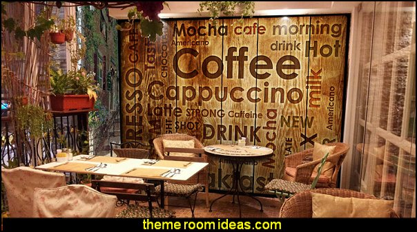 coffee 3D retro wood  brick mural coffee tea shop nostalgia bar restaurant wallpaper