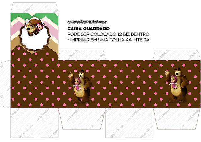 Cajas Cubo  de Masha y el Oso para imprimir gratis.