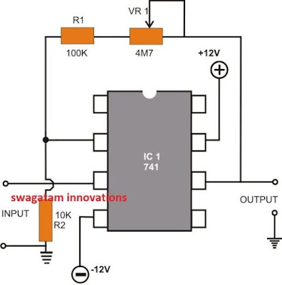 Non-inverting DC Amplifier using opamp
