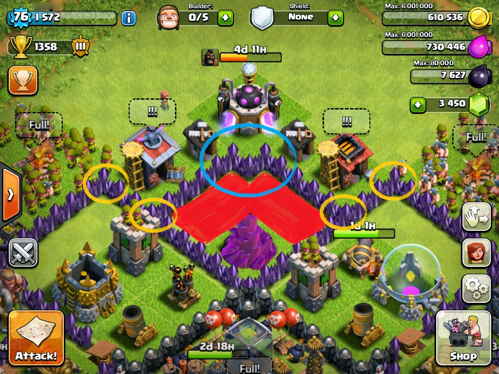 Gambar Base Farming TH 8 Ampuh Dengan 4 Mortar Clash Of Clans